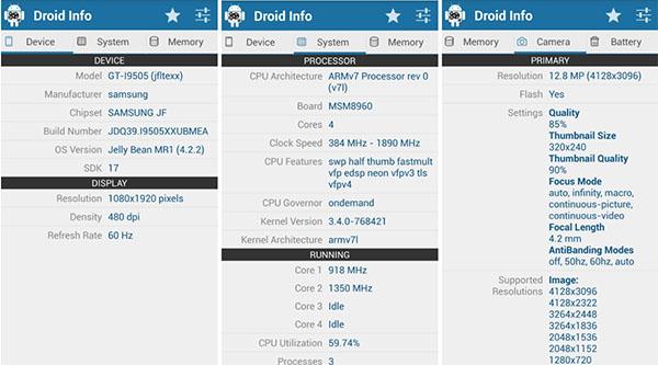 Ứng dụng Droid Hardware Info hỗ trợ kiểm tra thông tin đời máy