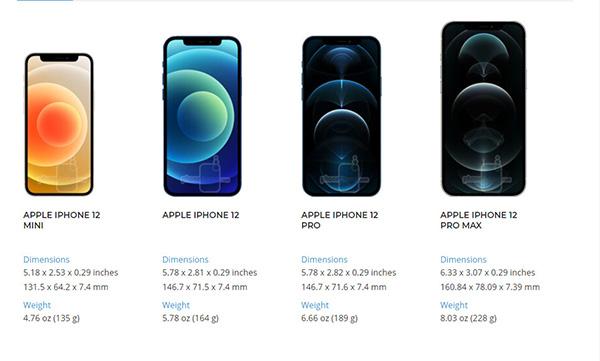 Kích thước, cân nặng iPhone 12 series